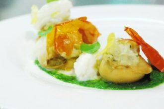 ricetta salsa di soia Kikkoman, Galena Chef Academy per Contest +K, seppia marinata alla soia cotta al vapore e farcita con crema di patata americana, crema di rapa e quenelle di bufala