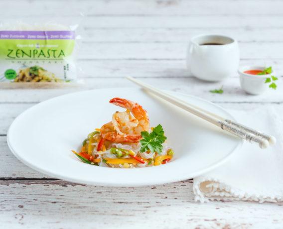 ricetta zenpasta spaghetti di shirataki ai gamberi e verdure
