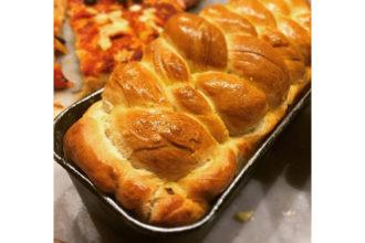 ricette farina Petra: treccia con sorpresa al prosciutto, ricetta della scuola di cucina Cucina Amica di Napoli, #alezionedifarina