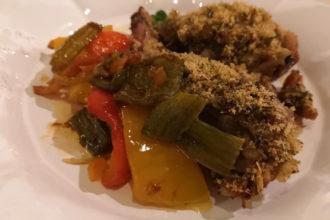 coniglio gratinato, ricetta della scuola di cucina Peccati di Gola di Conegliano (TV), ricetta della tradizione Veneto